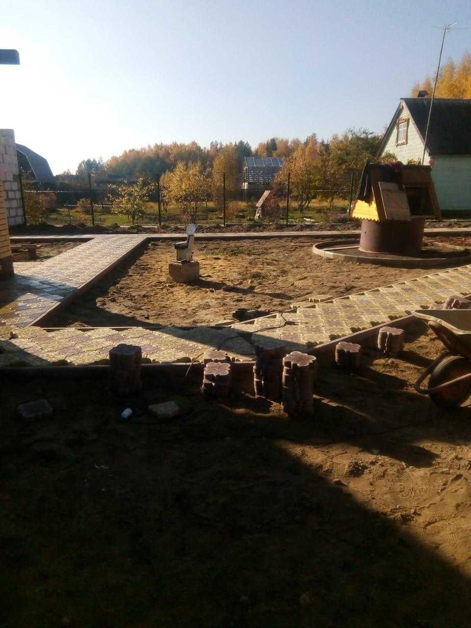 Укладка тротуарной плитки объект СНТ Деминская